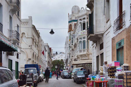 TETOUAN, MOROCCO - MAY 23, 2017: View of the El Ensanche district in Tetouan, planned and built during the time of the so-called Spanish Protectorate in Morocco (from 1913 to 1956).