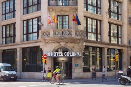 BARCELONA, SPAIN - May 15, 2017: View of the entrance to the BCN Hotel Colonial on the Via Laietana street in historical part of Barselona in sunny day.