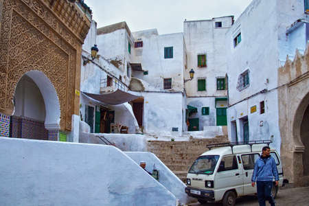 TETOUAN, MOROCCO - MAY 24, 2017: View of the typical old residential buildings of Tetouan (Northern Morocco) in historical center of the city.