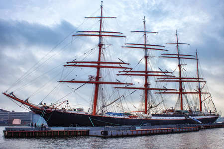 SAINT PETERSBURG, RUSSIA - NOVEMBER 04, 2014: STS Sedov on the embankment of Lieutenant Schmidt. Is a four-masted steel barque. Sedov, formerly named Magdalene Vinnen II, was built in Germany in 1921.