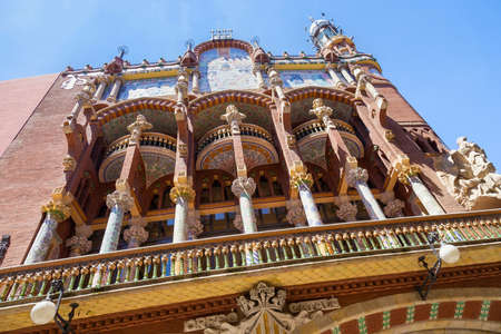 BARCELONA, SPAIN - MAY 15, 2017: View of Palace of Catalan Music (The Palau de la Musica Catalana in catalan). Is a concert hall designed in modernista style and built between 1905 and 1908.