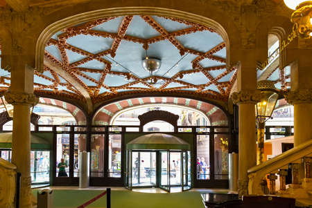 BARCELONA, SPAIN - MAY 15, 2017: Interior of the Palace of Catalan Music (The Palau de la Musica Catalana in catalan). Is a concert hall designed in modernista style and built between 1905 - 1908.