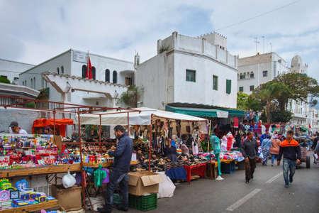 TETOUAN, MOROCCO - MAY 23, 2017: View of the old flea market in Tetouan Medina quarter in Northern Morocco.