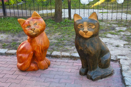 ZELENOGRADSK, KALININGRAD REGION, RUSSIA - APRIL 02, 2019: Wooden cats sculpture composition in famous resort Zelenogradsk (formerly known as Cranz) on the Baltic Sea coast. 에디토리얼