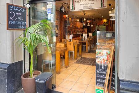 BARCELONA, SPAIN - MAY 15, 2017: Entrance to the pizzeria Sala da Pranzo in center of Barcelona.