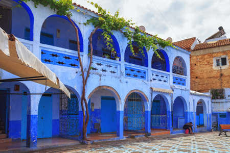 CHEFCHAOUEN, MOROCCO - MAY 29, 2017: View of the blue walls of Medina in Chaouen. The city is noted for its buildings in shades of blue and that makes Chefchaouen very attractive to visitors.