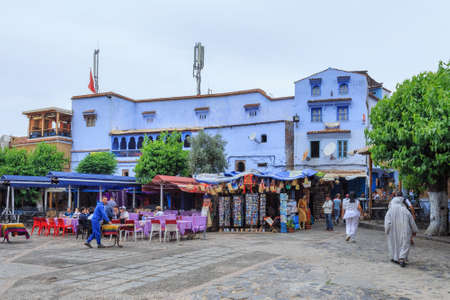 CHEFCHAOUEN, MOROCCO - MAY 28, 2017: Cityscape of the center of Chaouen. The city is noted for its buildings in shades of blue and that makes Chefchaouen very attractive to visitors.