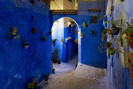 CHEFCHAOUEN, MOROCCO - MAY 29, 2017: Night view in medina of Chefchaouen. The city is noted for its buildings in shades of blue and that makes Chefchaouen very attractive to visitors.