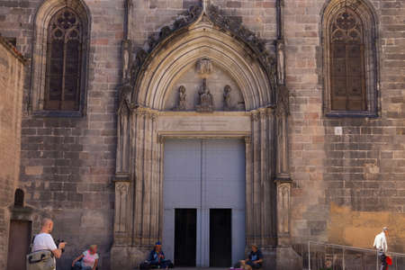 BARCELONA, SPAIN - MAY 15, 2017: View of the Basilica of Saints Justus and Pastor. The construction of the Gothic church that we can see today began on February 1 of 1342 and lasted until 1574. Editorial