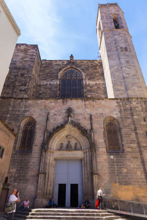 BARCELONA, SPAIN - MAY 15, 2017: View of the Basilica of Saints Justus and Pastor. The construction of the Gothic church that we can see today began on February 1 of 1342 and lasted until 1574.