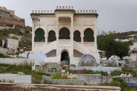 TETOUAN, MOROCCO - MAY 24, 2017: Old necropolis in the Sidi Al-Mandri Muslim cemetery in Tetouan.