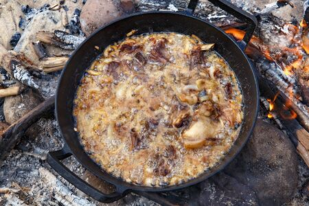Pieces of lamb with onion are fried in boiling oil on the fire. As a stage in the preparation of traditional pilaf. 스톡 콘텐츠