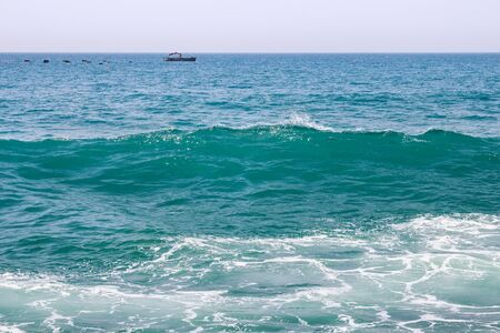 View of the ships in the Atlantic Ocean near Morocco in sunny day. 스톡 콘텐츠