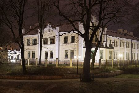 Night winter view of the eclectic historical building on the territory of the former The first lighting gas plant of Riga. Latvia.