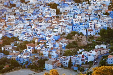 Aerial view of Chefchaouen in Morocco. The city is noted for its buildings in shades of blue and that makes Chefchaouen very attractive to visitors.