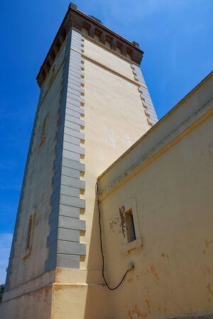 View of the old lighthouse on the Atlantic Ocean coast on the Cape Spartel in northern Morocco. 스톡 콘텐츠