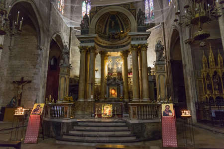 BARCELONA, SPAIN - MAY 15, 2017: Interior of the Basilica of Saints Justus and Pastor. The construction of the Gothic church that we can see today began on February 1 of 1342 and lasted until 1574.