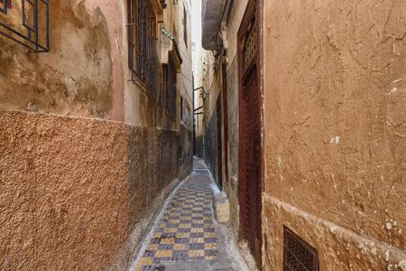 Narrow streets in Meknes medina. Meknes is one of the four Imperial cities of Morocco and the sixth largest city by population in the kingdom.