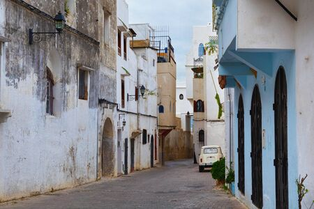 View of the one of the old streets in the historical part of Tangier in Northern Morocco.