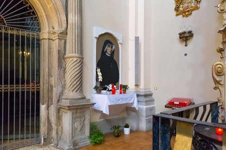 BARCELONA, SPAIN - MAY 15, 2017: Portrait of the Saint Maria Faustyna Kowalska in The church of San Agustin. She was a Polish Roman Catholic nun and mystic. Editorial