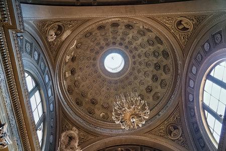 BERGAMO, ITALY - MAY 22, 2019: Coffered ceiling in the Sant'Andrea church in Bergamo. The church rebuilt by Ferdinando Crivelli in 1837.