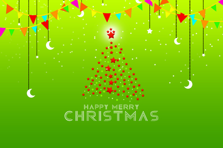 Christmas tree background - merry Christmas illustration