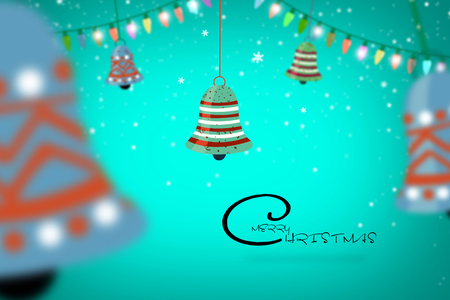 Merry Christmas Illustration Design With light And bell banner design.