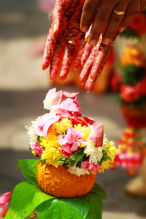 Closeup shot on wedding woman hand Indian Wedding Full Of Culture And Tradition