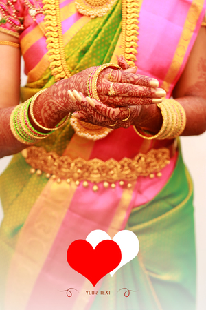 Indian bride putting on bangles, Traditional Young bride in wedding dress,