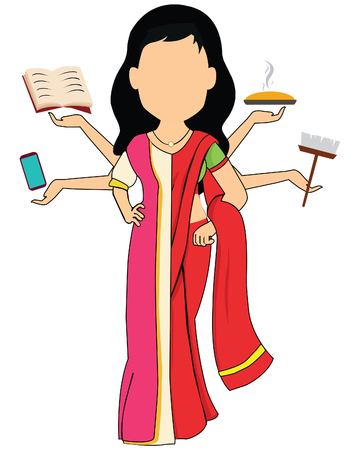 traditional cultural costume woman Vector illustration in super mom concept, many hands working with very busy business