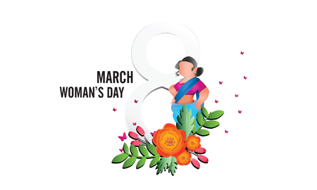International Womens Day 8 march with frame of flower and leaves