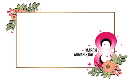 Greeting card with flowers background. 8 March, Happy womens day. Ilustração