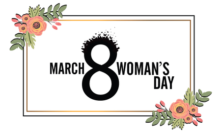 International Womens Day. Banner, flyer for March 8 decorating by paper flowers