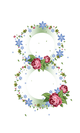 Women day background with frame flowers. 8 March invitation card.