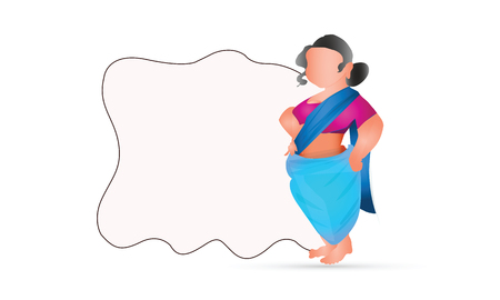 illustration of Indian woman on a white background. International Womens Day 8 march