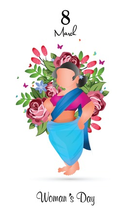 International Womens Day 8 march with frame of flower and leaves. Ilustração