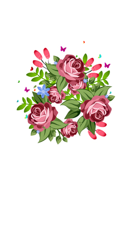 Bouquet of pink and red roses on white background.