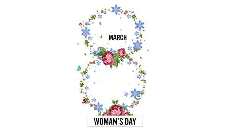 International Womens Day Greeting card with March 8 with frame of flower and leaves