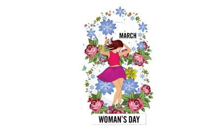 International Happy Womens Day. 8 March holiday background. frame of flower and leaves. Ilustração