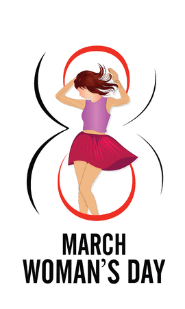 Happy Womens Day greeting card, gift card background with design of a women and text 8th March