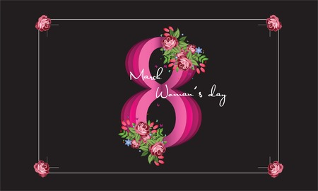 8 March. Happy Mothers Day. Paper cut Floral Greeting card. Square Frame, space for text. Happy Womens Day.