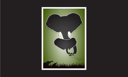 Happy Mothers day card. Mother elephant hugging her baby