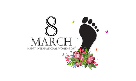 Happy feet International Womens day. Template for a poster, cards, banner.