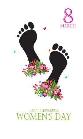 Happy feet International Womens day. Template for a poster, cards, banner. Vector illustration.