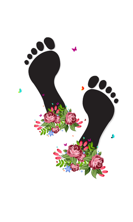 Happy feet International Womens day. Template for a poster, cards, banner. Vector illustration