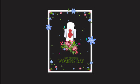 International Womens Day 8 march with colorful flowers, concept womans pain soft pad with menstrual blood Ilustração