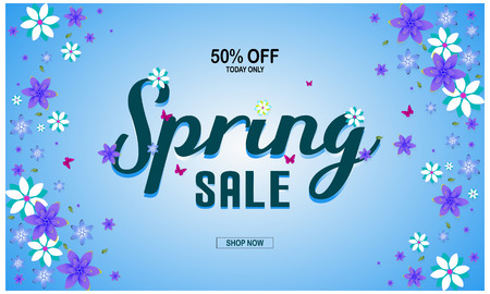 Spring sale background with beautiful colorful flower. Vector illustration, voucher 50% discount offer.