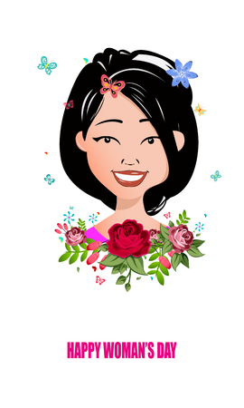 International Happy Women's Day. 8 March holiday background. frame of flower and leaves.