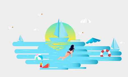 Girl swim on the beach and sea stuff with paper cut layer style Ilustração