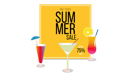 Promo banner template for summer sale. Summer decoration with realistic objects. Ilustração